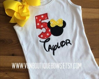 Red Yellow Mouse polka dot bow Personalized Boutique Number Birthday First 1st 2T 3 4 5 6 8 Girls Applique Short Long Sleeve Tank