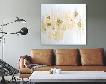 GOLD RUSH original abstract painting by Linnea Heide 36x36 acrylic on canvas neutral decor minimal monochromatic metallic gold leaf painting