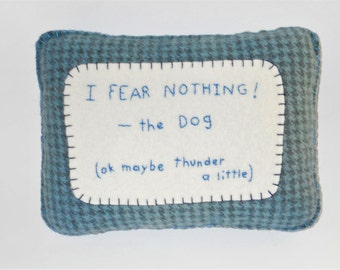 "Dog Pillow - Funny Pet Bed Pillow - Dog Sayings and Quote -  ""I Fear Nothing"" - Afraid of Thunder"