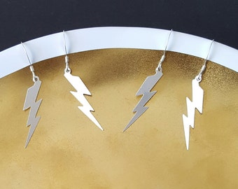 Lightning Earrings, Sterling Silver, Lightning Bolt, Handmade Jewelry, Birthday Gift, Gift for Her, Bridesmaid Gift