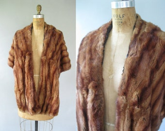 Vintage 1950s Fur Stole - Brown Wrap - Winter Bridal Fashion