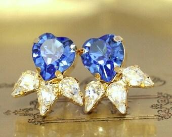 Sapphire Stud Earrings,Gift for her,Swarovski Crystal Studs,Heart Earrings, Crystal Heart Earrings,Bridal Something Blue,Bridal Earrings.