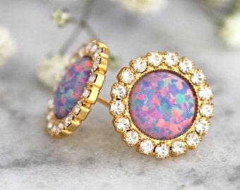 Opal earrings, Purple Opal earrings, Opal Stud Earrings, bridesmaids Earrings, Gift For Her, Christmas Gift, Purple Earrings, Opal Studs