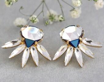 Bridal Crystal Earrings, Clear Crystal Cluster Earrings, Rockabilly Bride Earrings, Swarovski Crystal Cluster Earrings, Bridal Crystal Studs