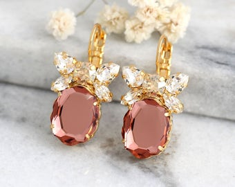 Blush Earrings, Bridal Silver Blush Earrings, Blush Drop Earrings, Bow Earrings, Bridesmaids Earrings, Rose Blush Bridal Dangle Earrings.