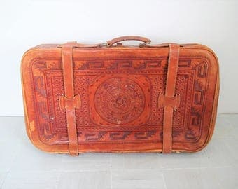Vintage leather suitcase/ hand tooled Mexican leather case/ boho decor