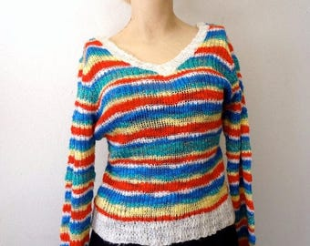 ON SALE 1980s Sweater / new wave knit top with rainbow stripes