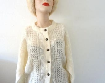 ON SALE 1980s Mohair Sweater - vintage ivory cable knit fuzzy oversized cardigan