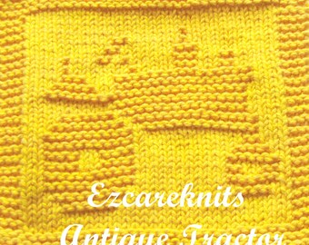 Knitting Cloth Pattern - ANTIQUE TRACTOR - PDF