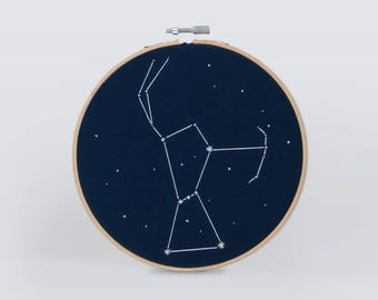 Constellation embroidery hoop, Wall hanging art home decoration Orion