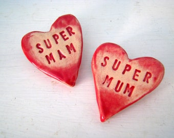 Super Mam /Mum brooch / pin / button / badge. Ceramic. Made in Wales, UK
