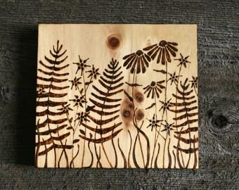 Woodland Garden - Wood Burning Art on Salvaged Wood