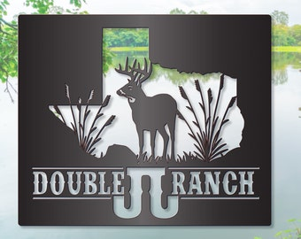 Ranch Sign with Texas Silhouette and White Tail Deer LMW-16-87