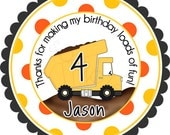 Personalized Construction Dump Truck Stickers - Party Favor Labels, Address Labels, Birthday Stickers - Wide Polka Dot Border