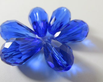 6 Cobalt Blue 14 x 10mm Faceted Chinese Crystal Teardrop Jewelry beads