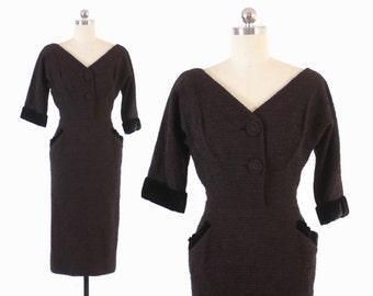 Vintage 50s Wiggle DRESS / 1950s Don Loper Designer Wool & Velvet Dress XS