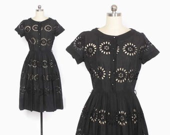 Vintage 50s Shirt DRESS / 1950s Black Peekaboo Embroidered Eyelet Black Cotton Rockabilly Dress S