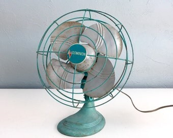 Vintage Electric Fan by Dominon, Industrial Home Decor for the Man Cave, 1950s Teal Turquoise Blue Fan
