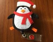 Badge holder, Christmas badge reel, winter badge reel, nurse badge reel, medical badge reel, penguin badge reel, Christmas badge holder