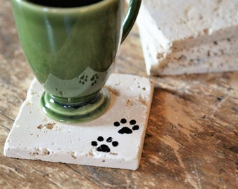 Small Pet Paw Print Coaster Set, Dog or Cat Lover, Natural Tumbled Marble Rustic Coasters Set of Four Handmade Home Decor Shabby Chic Simple