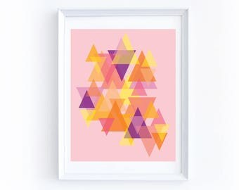 Colorful Geometric Print - Digital Download, Printable, Eight by Ten Inches, Pink, Orange, Yellow, Illustration, Triangle, Shapes, Bright