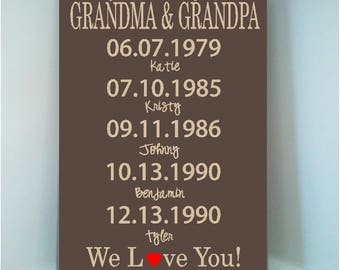 Personalized 8x12 wooden sign w vinyl quote Our greatest blessings call us Grandma and Grandpa with grandchildren's birthdays