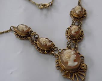 Antique Victorian Edwardian European vermeil 800 silver 5 shell cameos and filigree collectible necklace