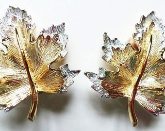 Clip On Earrings, Sarah Coventry Maple Leaf Nature's Choice, Gold on Silver, Vintage 60s