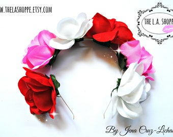 All The Colors of Love Roses Flower Crown Headband