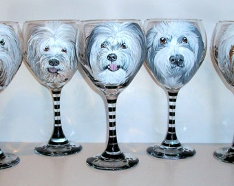 Custom Hand Painted Pet Portraits Pets Pet Lover Set of 5 Shaggy Dog Portraits Hand Painted On 5-20 oz. Wine Glasses dog cat horse Any Pet