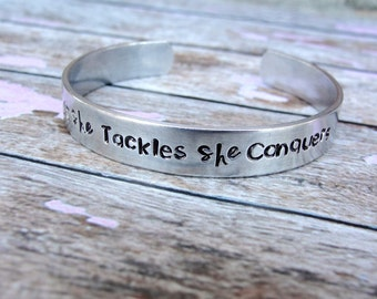 What She Tackles She Conquers- Gilmore Girls - Hand Stamped Jewelry- Strong Woman - Richard Gilmore