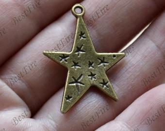 12 pcs of Stars Charm Connectors Antique bronze Tone,Stars Charm pendant beads findings