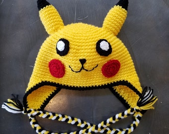 Pikachu Pokemon Animal Crochet Earflap Hat with Ties for Baby Toddler Child Adult Great Photo Prop