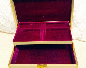 Vintage Purple Cream Jewelry Box 1960s Like Farrington Gold Trim