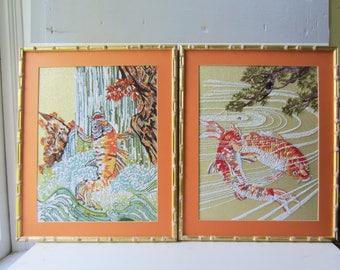 "Pair Vintage Embroidery - Asian Koi - Gold Bamboo Frame - Vintage Textile Art - 19"" x 23"""