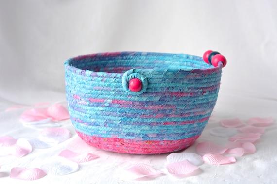Girl Room Basket, Handmade Pink Batik Basket, Key Holder bowl, Modern Mail Holder Bin, Fruit Bowl, Unique Fiber Bowl