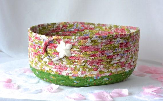 Shabby Chic Basket, Magazine Rack, Handmade Floral Basket, Green Shower Gift Basket, Family Room Decor, Pretty Storage Organizer