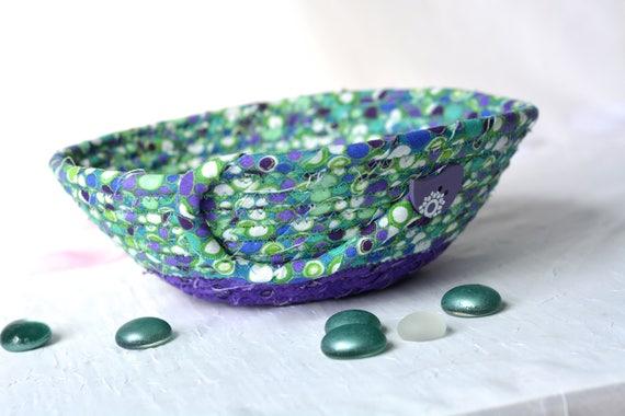Green Gift Basket, Handmade Bling Holder, Hand Coiled Trinket Basket, Purple and Green Fabric Basket, Modern Chic Fabric Bowl