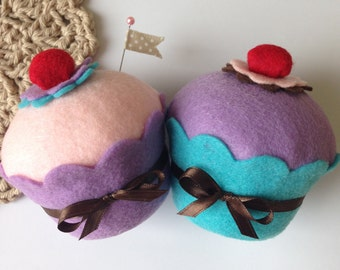 Felt Cupcake w/Cherry (Large - Your Color Choice) -  Decoration, Birthday Gifts, Party Favors, Pin Cushion, Tea Party, Home Decor, Props