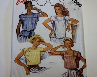 Shirt Pattern Easy McCall's 2050: Misses Tops Sizes 6,8,10 UNCUT