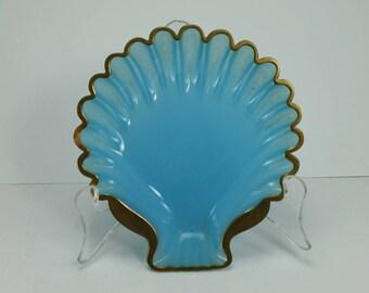 Vintage Cenedese Blue Opaline Murano Art Glass Mussel Shell Bowl Dish Aqua Glass Scallop Gold Edge Wedding Shower Gift Beach Nautical Decor