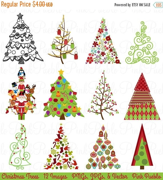 BLACK FRIDAY SALE Christmas Tree Clipart Clip Art, Christmas Holiday Decor Clipart Clip Art Vector - Commercial and Personal