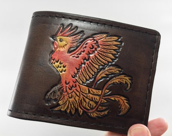 Fawkes the Phoenix - Harry Potter Hand Tooled Leather Wallet