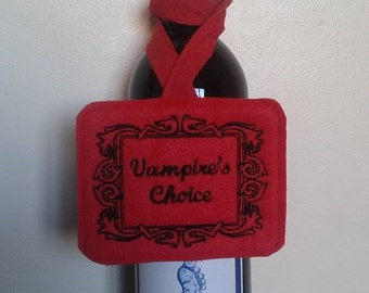 Vampire's Choice, unique label for red wine bottle, Halloween, Housewarming or Hen party, UK