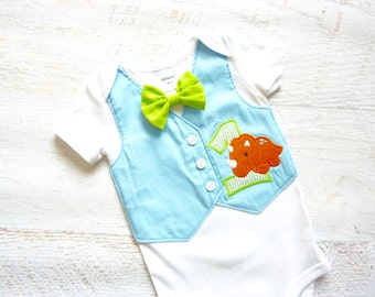 Dinosaur First Birthday Tuxedo Bodysuit Vest with Matching Bow Tie
