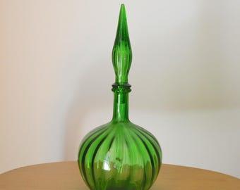 Mid Century Empoli Green Glass Decanter