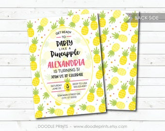 Pineapple Invitation, Pineapple Birthday Party Invitation, Hawaii Summer Printable Invitation, Tropical Pool Party Invite, Boy Girl 5x7 4x6""