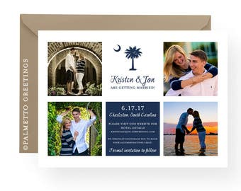 """South Carolina Wedding with Palmetto Moon Save the Date Photo Card, Announcement, Wedding, Engagement - PRINTED -  Set of 50 (5"""" x 7"""")"""