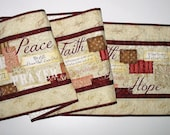 Reserved for Susan Table Runner, Table Topper, Bible Verses, quilted, focus fabric from Wilmington Prints