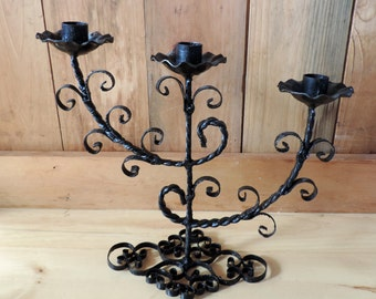 Vintage Candle Holder Black Iron Ornate Design Metal Iron Work Home Decor Three Candles Welded Ironwork Lacey Swirls Candelabra